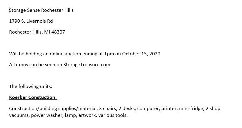 Storage Auction in Rochester Hills MI