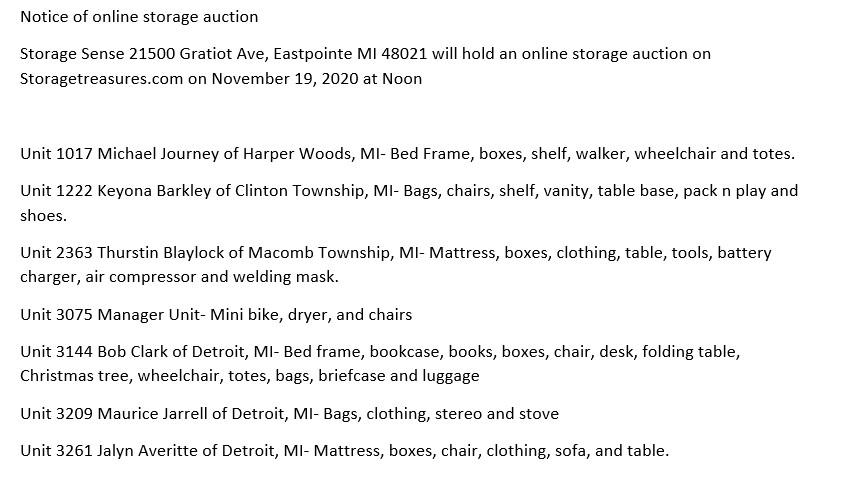 Storage Auctions in Eastpointe MI