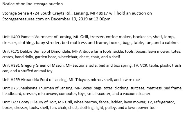 Storage Auction Lansing MI