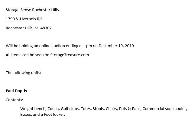 Storage Auction Rochester Hills MI