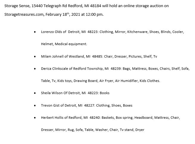 Storage Auction in Redford MI