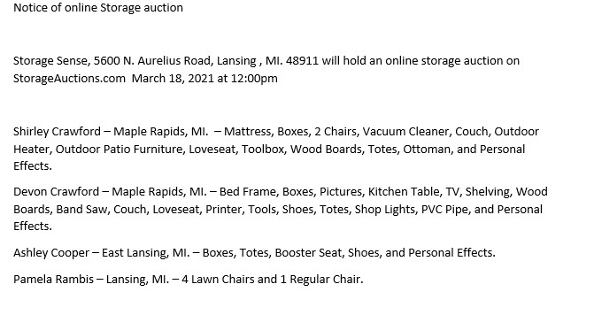 Storage Auctions in Lansing MI