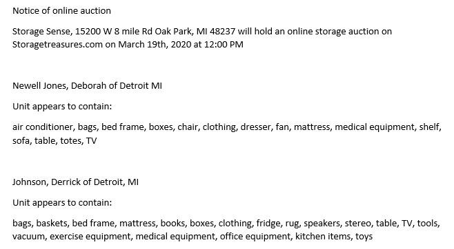 Oak Park MI Storage Auction