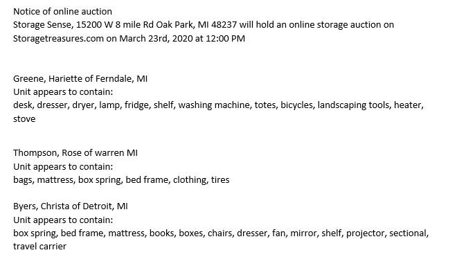 Storage Auction in Oak Park MI
