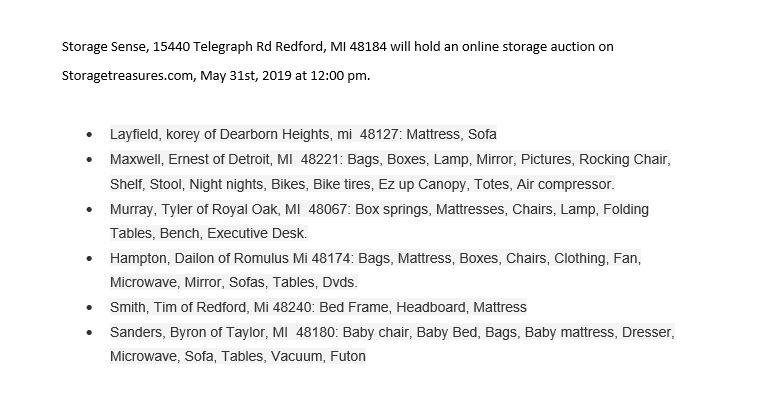 Storage Auction Redford MI