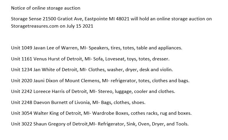 Storage Auction in Eastpointe MI