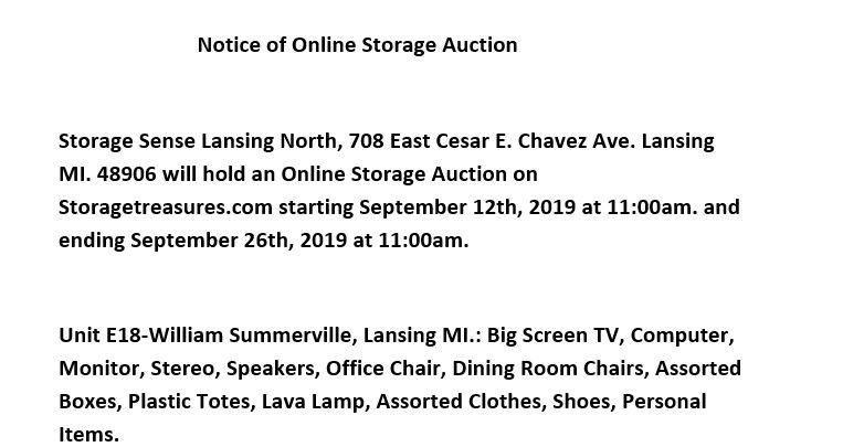 Storage Auction Lansing MI Creyts Road
