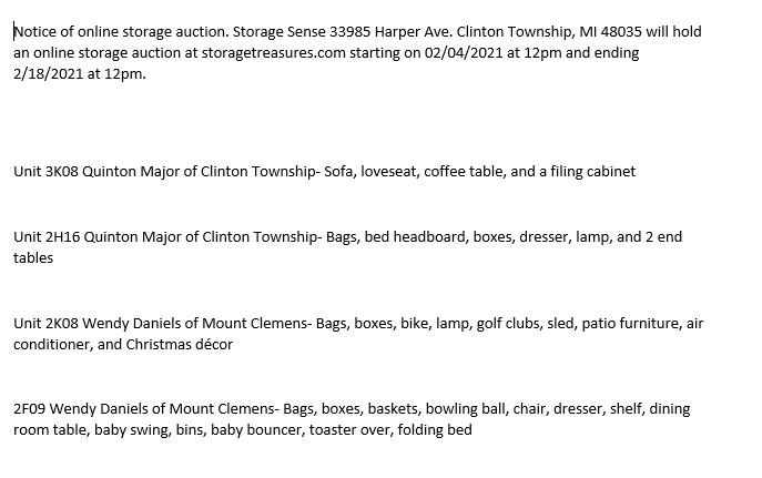 Storage Auction in Clinton Township MI