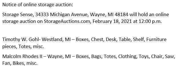Storage Auction in Wayne MI