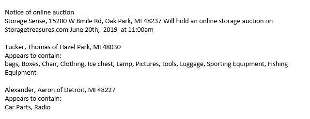 Storage Auction Oak Park MI