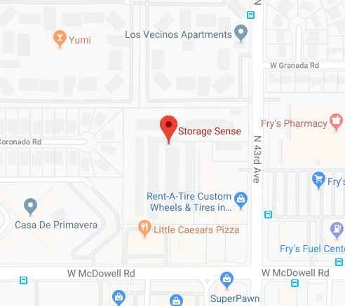 Phoenix AZ Self Storage Map