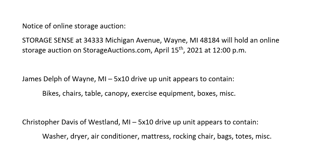 storage auction Wayne MI April 15