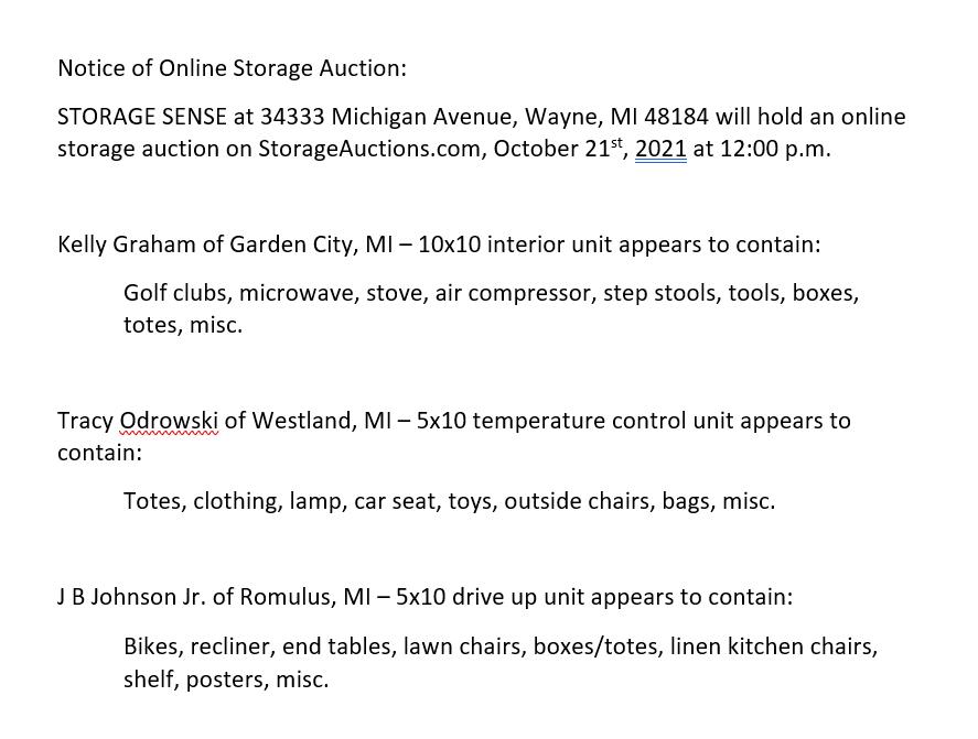 storage auctions Wayne MI
