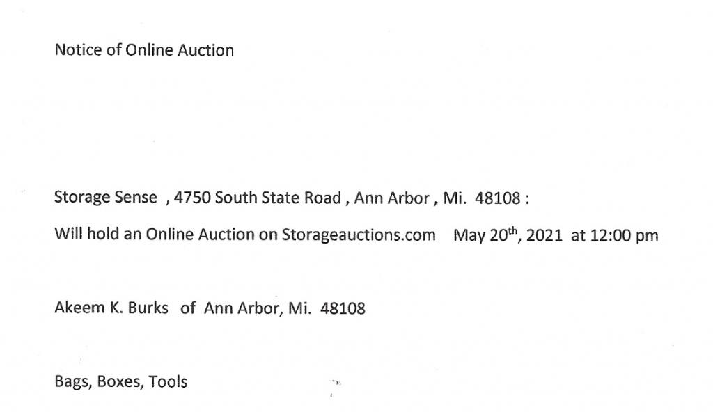Ann Arbor MI storage auction
