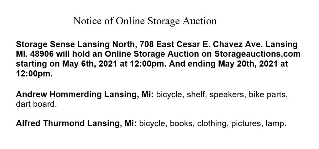 Storage auction Lansing MI
