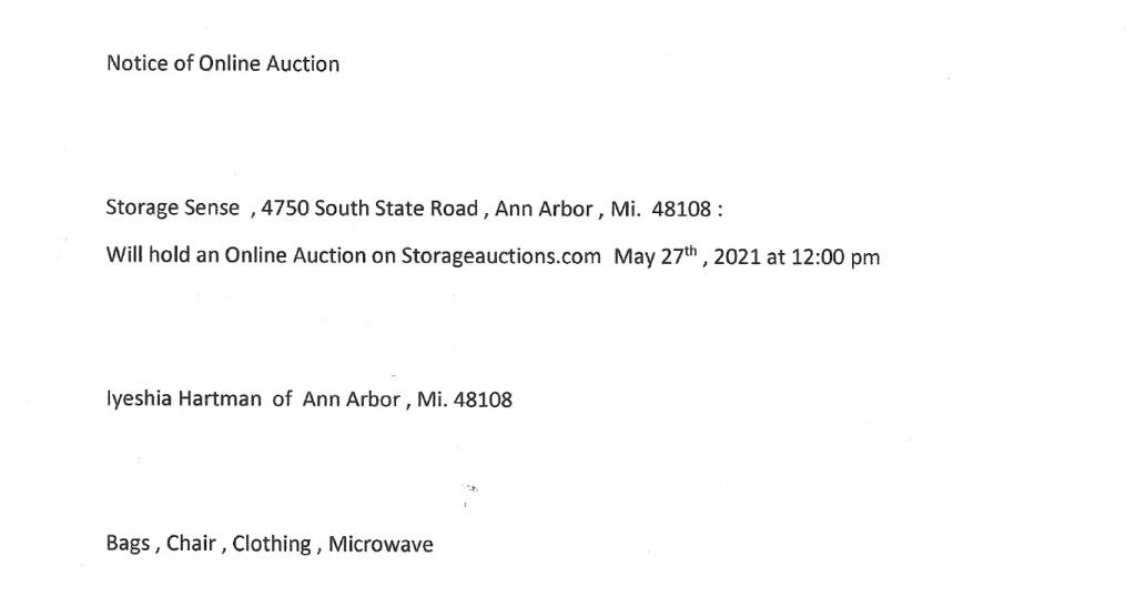 storage auction Ann Arbor MI