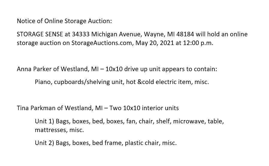 Storage Auction Wayne MI