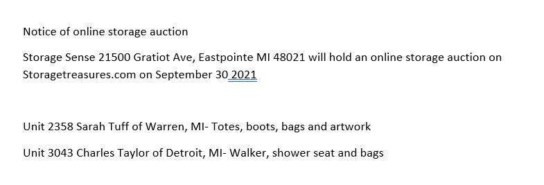 storage auctions Eastpointe MI