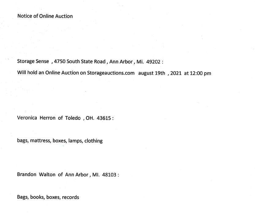 Storage Auction in Ann Arbor MI