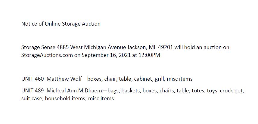 Storage Auction in Jackson MI