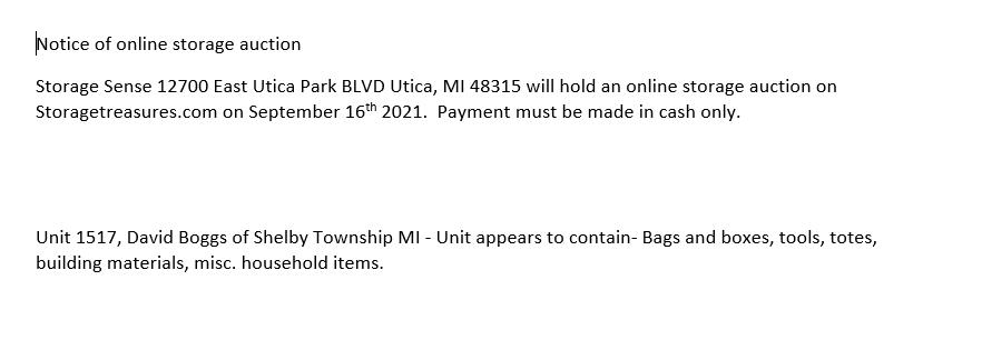 Storage Auction in Utica MI