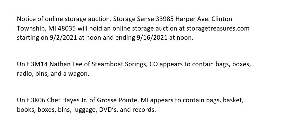Storage Auction in Clinton MI