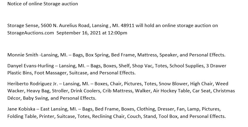 Storage Auction in Lansing MI